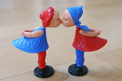 Valentine puppets couple. They are so funny: a magnetic kissing couple Royalty Free Stock Photography