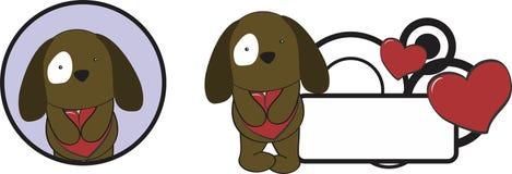 Valentine puppie cartoon heart hug copyspace. Valentine animal cartoon heart hug copyspace in vectorformat very easy to edit Stock Image