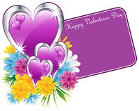 Valentine purple hearts and flowers. Valentine purple and silver hearts, flowers and a happy valentines day gift tag. Isolated on white. Copy space for text Royalty Free Stock Photo