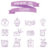 Valentine purple icons style collection Stock Images