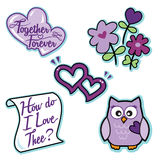 Valentine purple love icon set flowers owl hearts letter. This is a vector based illustration set. The graphics include purple joined hearts that read together Stock Image