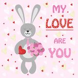 Valentine rabbit Bunny with bouquet of flowers and sweets. Vector illustration, eps Royalty Free Stock Photography
