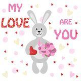 Valentine rabbit Bunny with bouquet of flowers and sweets. Vector illustration, eps Royalty Free Stock Photos