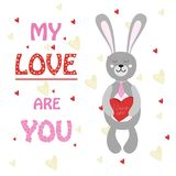 Valentine rabbit ,Bunny with box of chocolates heart. Vector illustration, eps Stock Image
