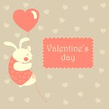 Valentine rabbit flying on heart shaped baloon. White valentine rabbit flying on pink heart shaped baloon.Vector greeting card Stock Image