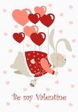 Valentine rabbit flying on heart shaped baloons Royalty Free Stock Image