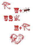 Valentine Rebus. Symbols represent the words I want you to bee by valentine for Saint Valentines Day Stock Photography