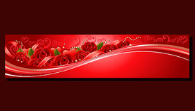 Valentine red banner rose. Banner in valentine  theme with red roses, ribbon, and pebbles Royalty Free Stock Photo