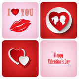 Valentine red decoration card made from white paper Stock Images