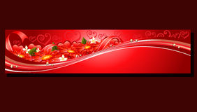 Valentine red flower banner. Valentine banners with item such red flower, heart shape,etc eps 10 file, with no gradient meshes,blends,opacity, stroke path stock illustration