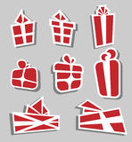 Valentine red gift box sticker set Royalty Free Stock Photography