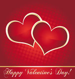 Valentine red and golden hearts card Stock Images