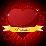 Valentine red heart and banner over starburst Stock Photos