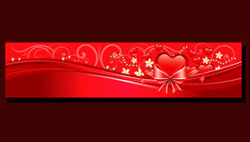 Valentine red heart banner. Banner valentine with red heart shape royalty free illustration