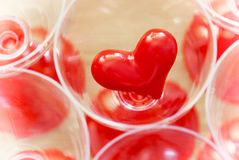 Valentine red heart in glass Royalty Free Stock Photo