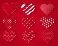 Valentine red heart icon set vector illustration. For background Stock Images