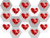 Valentine red heart polygon design Royalty Free Stock Photos
