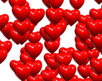 Valentine Red Heart Random Bunch Glossy Stock Image