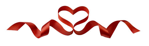 Valentine red heart ribbon design element isolated on white back Royalty Free Stock Photos
