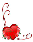 Valentine red heart and ribbons Royalty Free Stock Photography