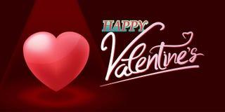 Valentine Red Heart Spotlight Background-Vector Royalty-vrije Stock Afbeeldingen