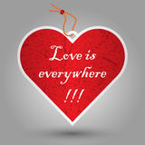 Valentine red heart tag Royalty Free Stock Images