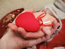 Valentine red heart in woman and man hands Stock Image