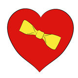 Valentine red heart with yellow bow on white of  illustrations Royalty Free Stock Photos