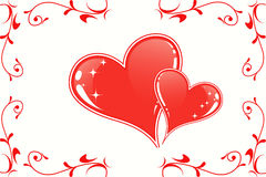 Valentine red hearts. On white background stock illustration