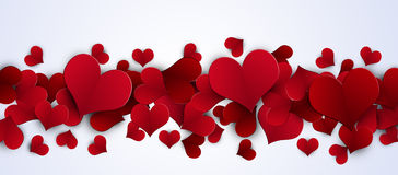 Valentine Red Hearts Banner Royalty Free Stock Photo