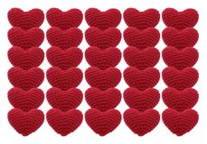 Valentine red hearts crochet knit isolated on white background. Symbol of love. Valentine`s Day royalty free illustration