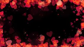 Valentine red hearts frame background with alpha, looped.  royalty free illustration