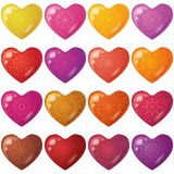 Valentine red hearts with pattern, set Royalty Free Stock Images