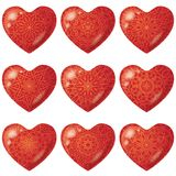Valentine red hearts with pattern, set Stock Image