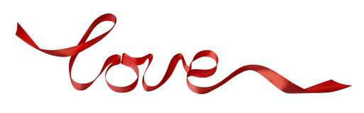 Valentine red love ribbon design element isolated on white backg Royalty Free Stock Images