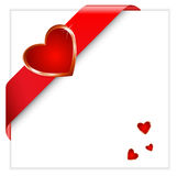 Valentine red ribbon Royalty Free Stock Photos