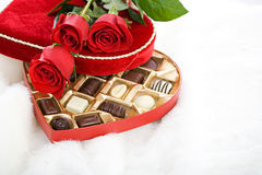 Valentine: Red Roses On Heart Candy Box Stock Photography