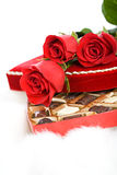 Valentine: Red Roses On Heart Candy Box Stock Images