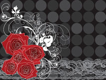 Valentine red roses and lace Royalty Free Stock Photo