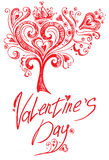 Valentine red tree. Royalty Free Stock Photography