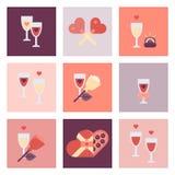 Valentine-reeks van het dag de vlakke pictogram Stock Fotografie
