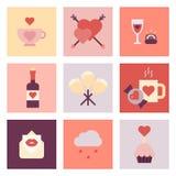Valentine-reeks van het dag de vlakke pictogram Royalty-vrije Stock Foto's