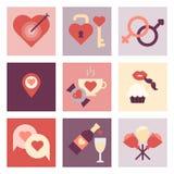 Valentine-reeks van het dag de vlakke pictogram Stock Afbeeldingen