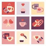Valentine-reeks van het dag de vlakke pictogram Royalty-vrije Stock Afbeelding