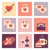 Valentine-reeks van het dag de vlakke pictogram Royalty-vrije Stock Fotografie