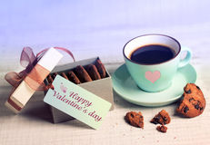 Valentine retro card coffee cup & cookies,present box background Royalty Free Stock Photography