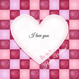 Valentine Retro Greeting Card with Heart Pattern Royalty Free Stock Photography