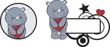 Valentine rhino cartoon heart hug copyspace Royalty Free Stock Photos