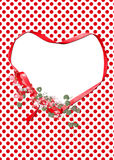 Valentine ribbon heart with flowers Royalty Free Stock Images