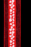 Valentine ribbon with hearts Stock Images